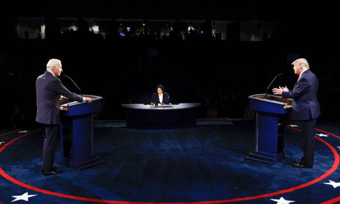 President Donald Trump and Democratic presidential nominee Joe Biden participate in the final presidential debate at Belmont University, in Nashville, Tenn., on Oct. 22, 2020. (Jim Bourg/Pool via AP)