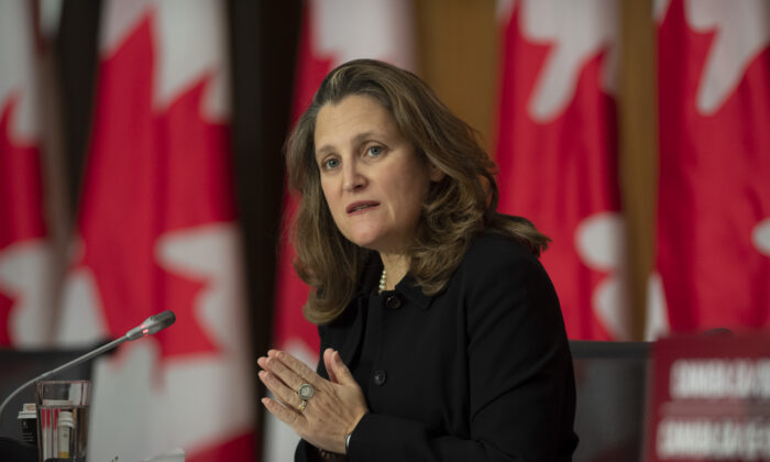 Deputy Prime Minister and Minister of Finance Chrystia Freeland responds to a question during a news conference in Ottawa on Oct. 20, 2020. (Adrian Wyld/The Canadian Press)