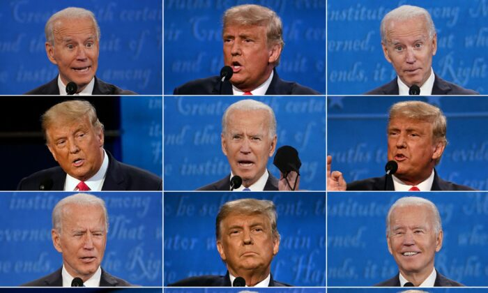 This combination of pictures shows President Donald Trump and Democratic Presidential candidate and former Vice President Joe Biden during the final presidential debate at Belmont University in Nashville, Tenn., on Oct. 22, 2020. (Brendan SmialowskiI, Jim Watson, Morry Gash/AFP via Getty Images)