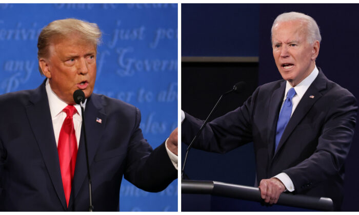 (L): President Donald Trump participates in the final presidential debate against Democratic presidential nominee Joe Biden at Belmont University in Nashville, Tenn., on Oct. 22, 2020. (Justin Sullivan/Getty Images); (R): Democratic presidential nominee Joe Biden participates in the final presidential debate against President Donald Trump at Belmont University in Nashville, Tenn., on Oct. 22, 2020. (Chip Somodevilla/Getty Images)