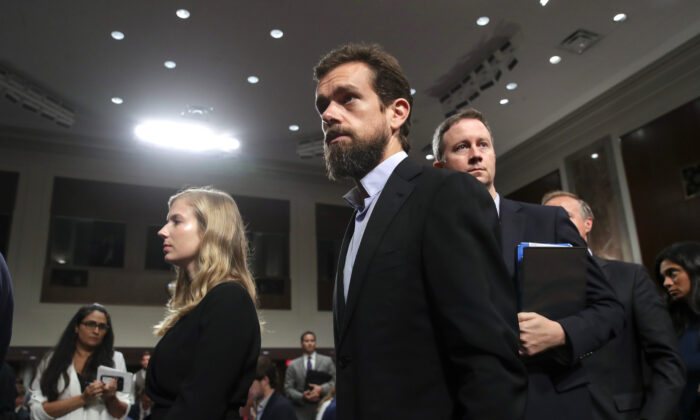 Twitter CEO Jack Dorsey exits after testifying during a Senate Intelligence Committee hearing on Capitol Hill, on Sept. 5, 2018. (Drew Angerer/Getty Images)