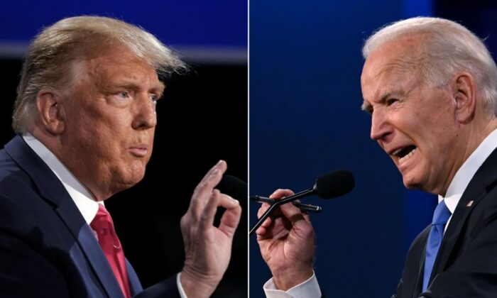 This combination of pictures created on Oct. 22, 2020, shows President Donald Trump (L) and Democratic Presidential candidate and former Vice President Joe Biden during the final presidential debate at Belmont University in Nashville, Tenn., on Oct. 22, 2020. (Brendan Smialowski and Jim Watson/AFP/Getty Images)