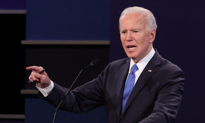 Democratic presidential nominee Joe Biden participates in the final presidential debate against U.S. President Donald Trump at Belmont University in Nashville, Tennessee, on Oct. 22, 2020. (Chip Somodevilla/Getty Images)