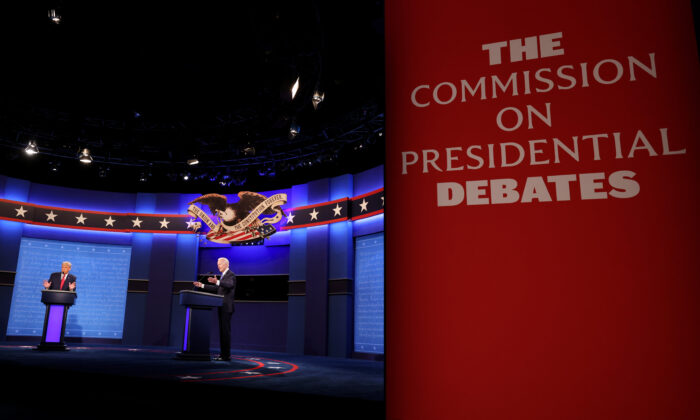 Then President Donald Trump and then Democratic presidential nominee Joe Biden participate in the final presidential debate at Belmont University in Nashville, Tenn., on Oct. 22, 2020. (Justin Sullivan/Getty Images)