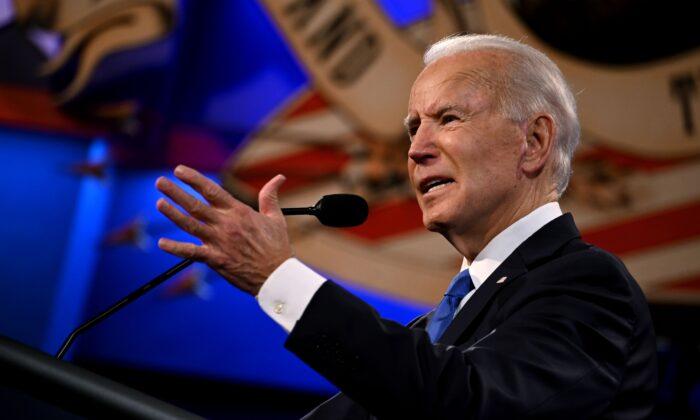 Democratic presidential nominee and former U.S. Vice President Joe Biden gestures as he speaks during the final presidential debate at Belmont University in Nashville, Tenn., on Oct. 22, 2020. (Jim Watson/AFP/Getty Images)