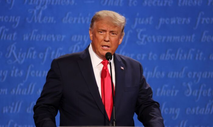 President Donald Trump participates in the final presidential debate against Democratic presidential nominee Joe Biden at Belmont University in Nashville, Tenn., on Oct. 22, 2020. (Justin Sullivan/Getty Images)