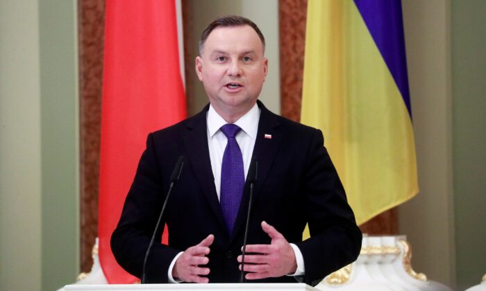 Polish President Andrzej Duda holds a joint news briefing with his Ukrainian counterpart as part of their meeting in Kiev on Oct. 12, 2020. (Valentyn Ogirenko /Pool/AFP via Getty Images)