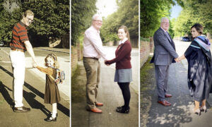 Dad and Daughter Take the Same Photo at 3 Stages in Her School Life–and It Goes Viral
