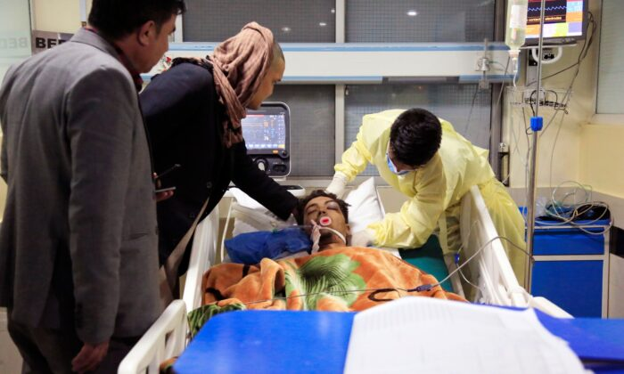 An Afghan receives treatment at hospital after a suicide attack in Kabul, Afghanistan, Saturday, Oct. 24, 2020. (Mariam Zuhaib/AP Photo)