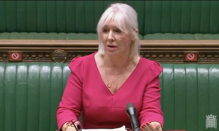 British Minister for Patient Safety, Suicide Prevention, and Mental Health Nadine Dories speaks to Parliament, in London, on Oct. 22, 2020. (Screenshot/https://Parliamentlive.tv/)