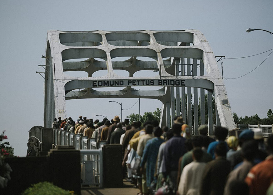 """protesters marching over a bridge in """"Selma"""""""