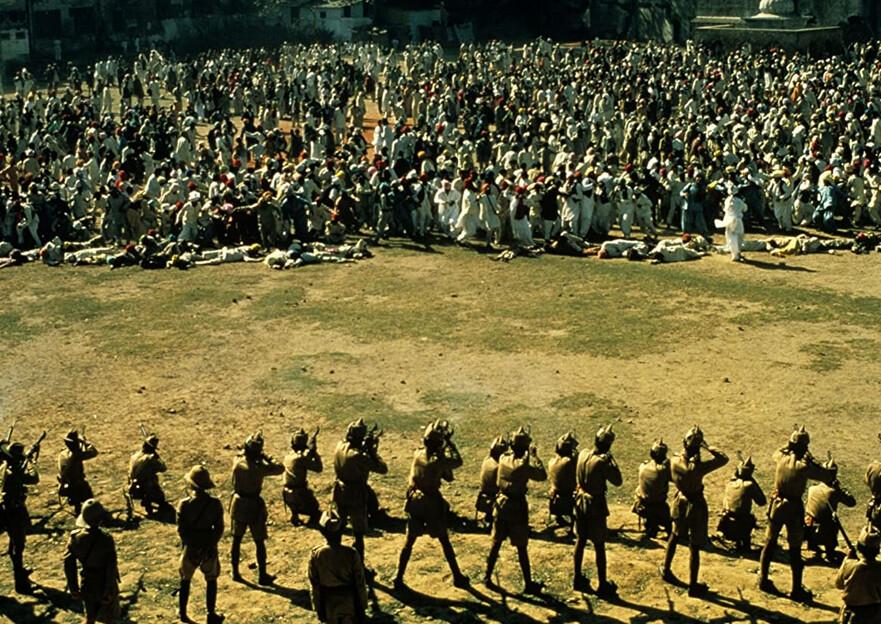 "soldiers massacre civilians in ""Gandhi"""