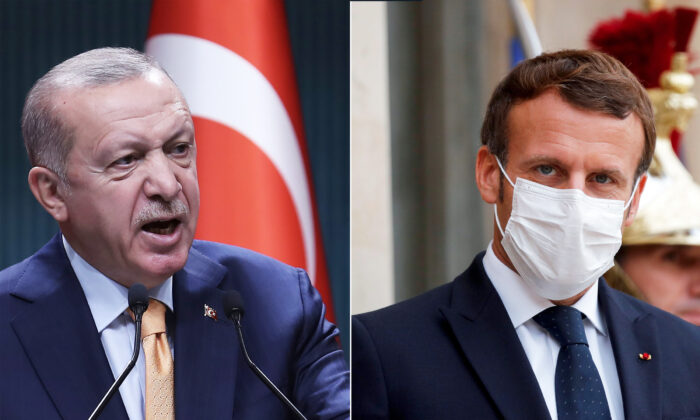 L: Turkish President Recep Tayyip Erdogan presents statements following the Cabinet Meeting at the Presidential Complex, in Ankara, on Oct. 5, 2020. (Adem Altan/AFP via Getty Images)  R: French President Emmanuel Macron, wearing a face mask, looks on as he waits for the arrival of the Armenian President, ahead of their meeting at the Elysee Palace, in Paris, on Oct. 22, 2020. (Photo by Charles Platiau/Pool/AFP via Getty Images)