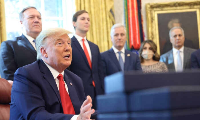 President Donald Trump speaks about a Sudan–Israel peace agreement, in the Oval Office, in Washington, on Oct. 23, 2020. (Win McNamee/Getty Images)