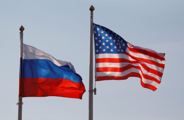 National flags of Russia and U.S. fly at Vnukovo International Airport in Moscow