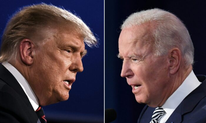 U.S. President Donald Trump (L) and Democratic Presidential candidate former Vice President Joe Biden squaring off during the first presidential debate at the Case Western Reserve University and Cleveland Clinic in Cleveland, Ohio on Sept. 29, 2020. (Jim Watson, Saul Loeb/AFP via Getty Images)