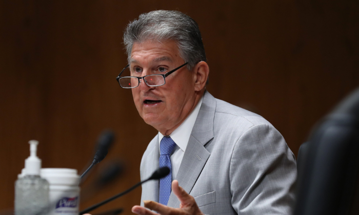 Sen. Joe Manchin (D-W.Va.) speaks during a Senate Appropriations Subcommittee hearing on Capitol Hill in Washington on June 16, 2020. (Chip Somodevilla/Pool/AFP via Getty Images)