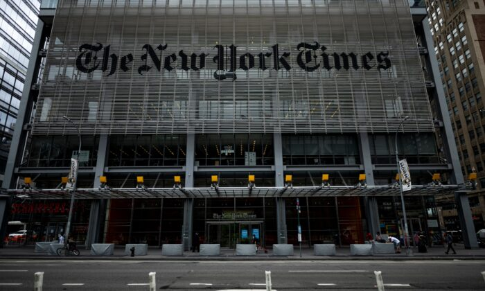The New York Times building in New York City on June 30, 2020. (Johannes Eisele/AFP via Getty Images)