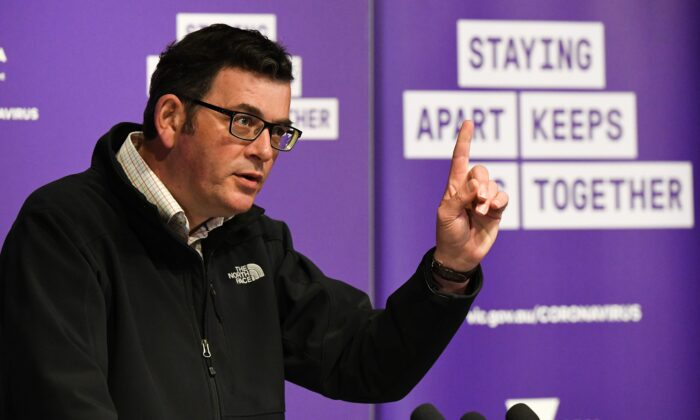 Australia's Victoria state Premier Daniel Andrews speaks during a press conference in Melbourne on Oct. 18, 2020. (William West/AFP via Getty Images)