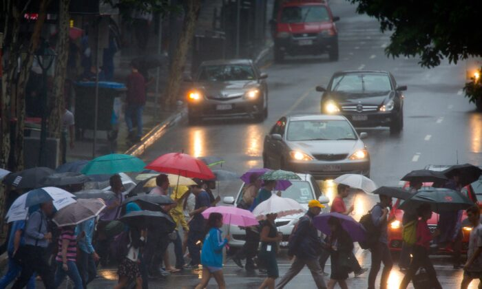 The Bureau of Meteorology has issued a severe weather warning for Redland City, parts of Ipswich, Logan, Scenic Rim, Lockyer Valley, Gold Coast, Brisbane City and Moreton Bay Council areas. (Patrick Hamilton/AFP via Getty Images)