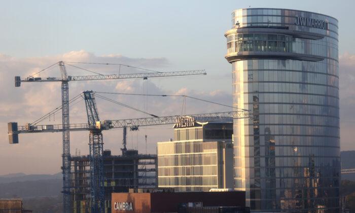 Construction cranes in Nashville, Tenn., on Oct. 21, 2020. (Justin Sullivan/Getty Images)