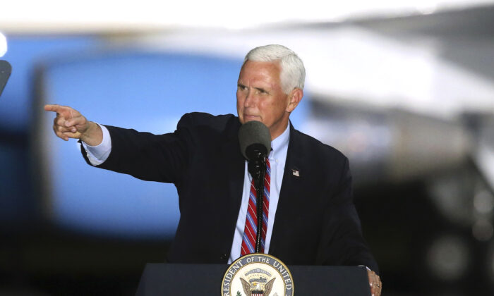 Vice President Mike Pence addresses supporters at campaign rally in Tallahassee, Fla., on Oct. 24, 2020. (Steve Cannon/AP Photo)