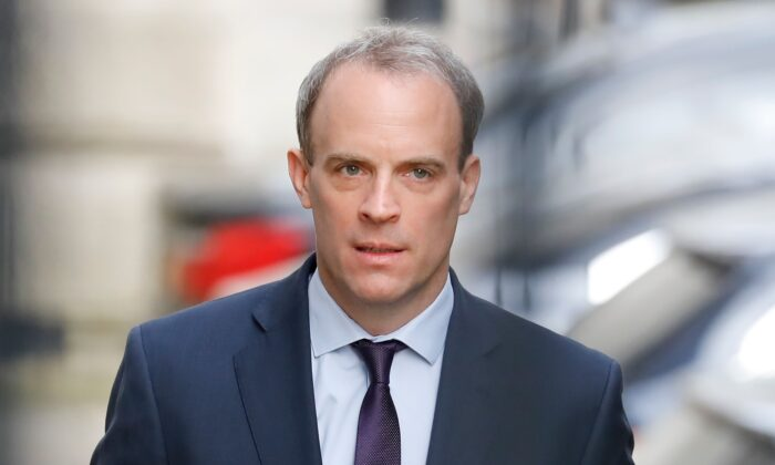 Britain's Foreign Secretary Dominic Raab arrives at Downing street in central London on April 8, 2020.(Tolga Akmen/AFP via Getty Images)