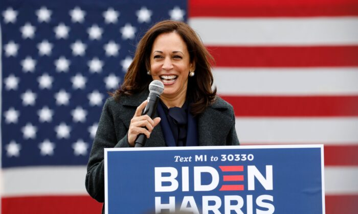 Democratic vice presidential nominee Senator Kamala Harris (D-Calif.) speaks at a campaign stop at IBEW Local 58 in Detroit, Michigan on Oct. 25, 2020. (Jeff Kowalsky/AFP via Getty Images)