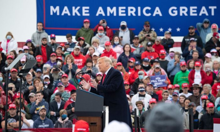 President Donald Trump holds a Make America Great Again campaign rally at Lancaster Airport in Lititz, Pennsylvania, October 26, 2020 (SAUL LOEB/AFP via Getty Images)