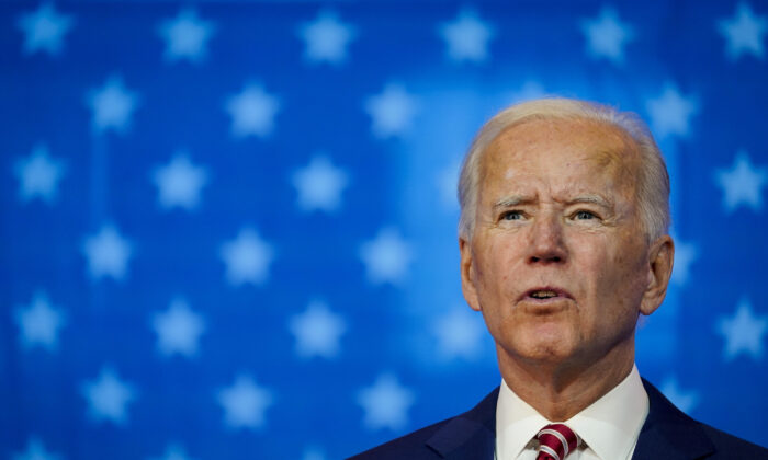 Democratic presidential nominee Joe Biden speaks at a rally in Wilmington, Del., on Oct. 23, 2020. (Drew Angerer/Getty Images)