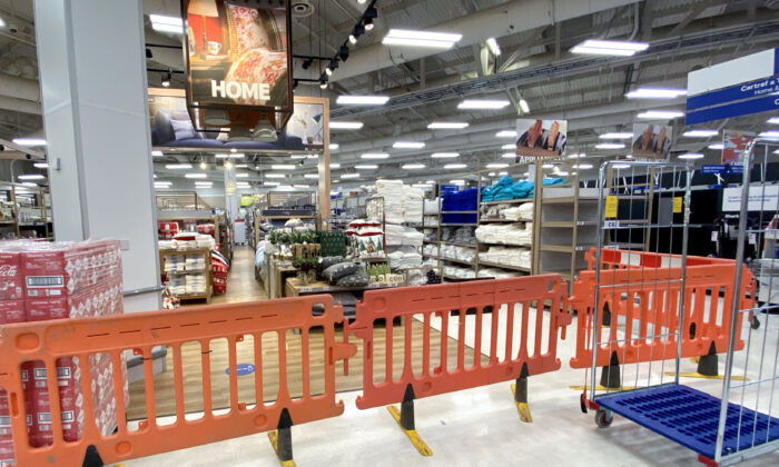Non-essential items are blocked off in a Tesco supermarket in Cardiff, Wales, on Oct. 23, 2020.  (Matthew Horwood/Getty Images)