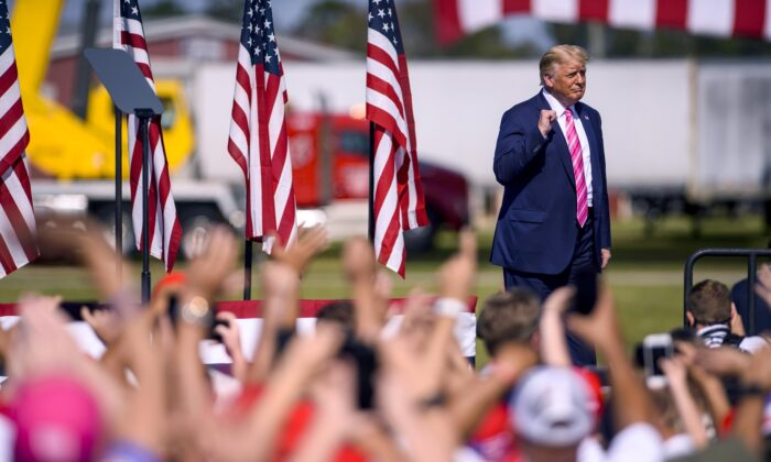 President Donald Trump addresses a crowd during a campaign rally in Lumberton, N.C., on Oct. 24, 2020. (Melissa Sue Gerrits/Getty Images)