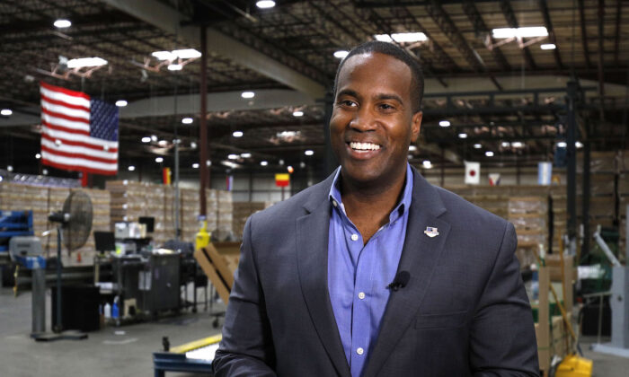John James, the Republican's Michigan U.S. Senate candidate, speaks to a media outlet during an interview in Detroit, Mich., on Aug. 7, 2018. (Bill Pugliano/Getty Images)
