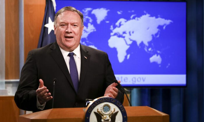 Secretary of State Mike Pompeo speaks during a media briefing at the State Department in Washington on June 10, 2019. (Samira Bouaou/The Epoch Times)