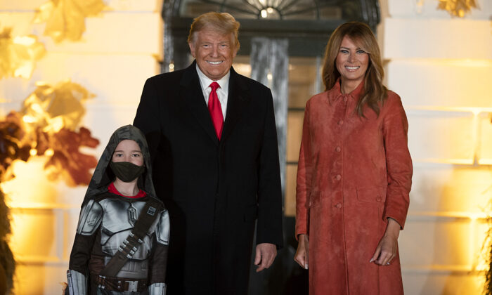 President Donald Trump and First Lady Melania Trump great guests on the south lawn of the White House on Oct. 25, 2020 in Washington. (Tasos Katopodis/Getty Images)