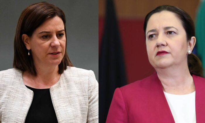 Queensland leaders Premier Annastacia Palaszczuk and Liberal National Party leader Deb Frecklington to face off in election debate in Brisbane, Australia on Oct. 28, 2020 (AAP Image/Dan Peled) (Jono Searle/Getty Images)