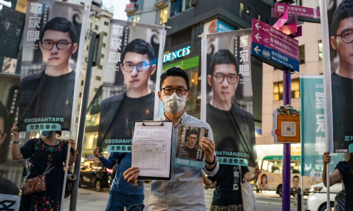 Pro-democracy activist Nathan Law speaks to members of media during a press conference in Hong Kong on June 19, 2020. (Anthony Kwan/Getty Images)