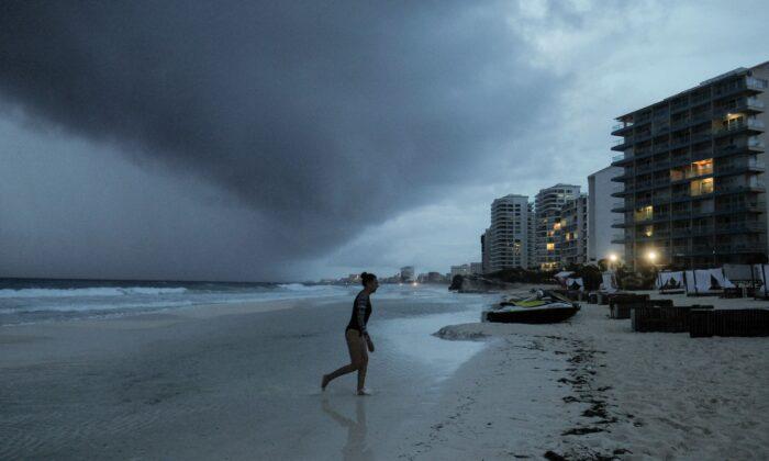 Clouds gather over Playa Gaviota Azul as Tropical Storm Zeta approaches Cancun, Mexico, on Oct. 26, 2020. (Victor Ruiz Garcia/AP Photo)