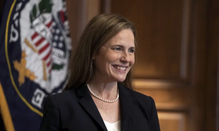 Supreme Court nominee Amy Coney Barrett on Capitol Hill in Washington, on Oct. 21, 2020. (Greg Nash/Pool via AP)