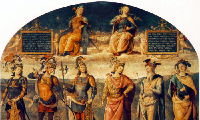 """""""Fortitude and Temperance with Six Antique Heroes"""" by Pietro Perugino, 1497. (Public domain)"""