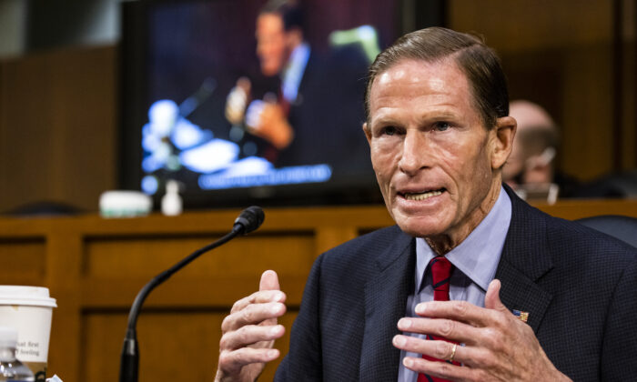 Sen. Richard Blumenthal (D-Conn.) makes a statement before the Senate Judiciary Committee on the fourth day of Supreme Court nominee Judge Amy Coney Barrett's confirmation hearing on Capitol Hill in Washington, on Oct. 15, 2020. (Samuel Corum/Getty Images)
