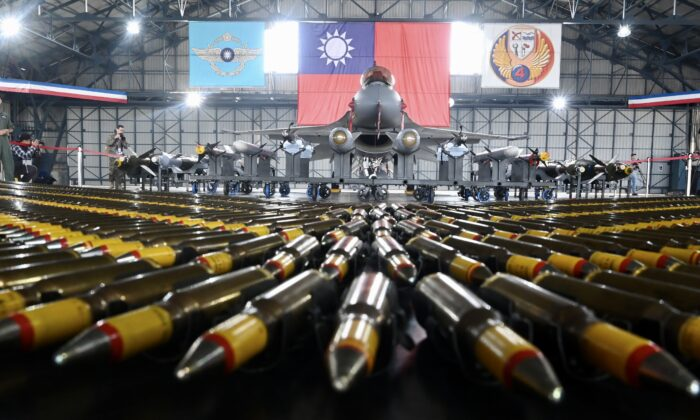 A U.S.-made F-16V fighter jet with its armaments is on display during an exercise at a military base in Chiayi, southern Taiwan, on Jan. 15, 2020. (Sam Yeh/AFP via Getty Images)