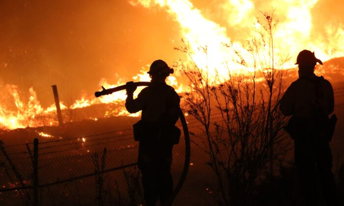 Firefighters battle the Silverado Fire in Irvine, Calif., on Oct. 26, 2020. (Tim Knight/City of Irvine)