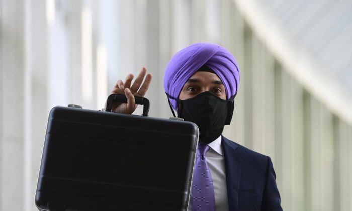 Minister of Innovation, Science and Economic Development Navdeep Bains leaves on the third and final day of the Liberal cabinet retreat in Ottawa, on Sept. 16, 2020. (The Canadian Press/Sean Kilpatrick)