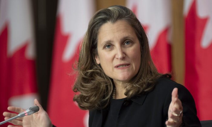 Deputy Prime Minister and Minister of Finance Chrystia Freeland responds to a question during a news conference  in Ottawa on Oct. 9, 2020. (Adrian Wyld/The Canadian Press)