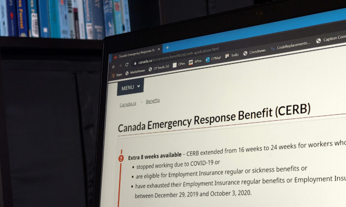 The landing web page for the Canada Emergency Response Benefit, Aug. 10, 2020. (THE CANADIAN PRESS/Giordano Ciampini)
