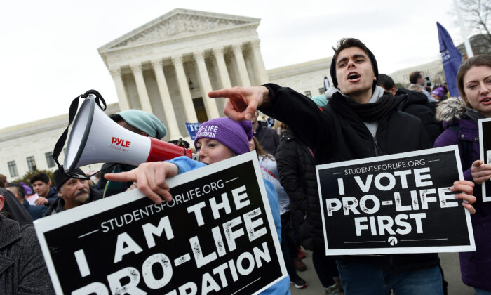 Pro-life activists demonstrate in front of the U.S. Supreme Court during the 47th annual March for Life in Washington on Jan. 24, 2020. (Olivier Douliery/AFP via Getty Images)