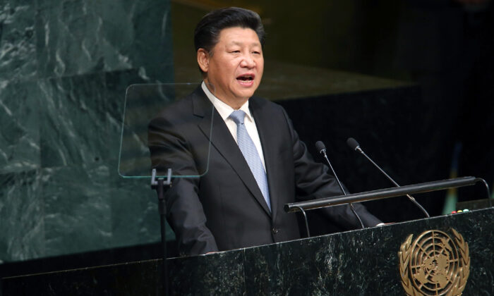 Chinese leader Xi Jinping delivers remarks at the United Nations General Assembly at U.N. headquarters in New York City on Sept. 28, 2015. (Spencer Platt/Getty Images)
