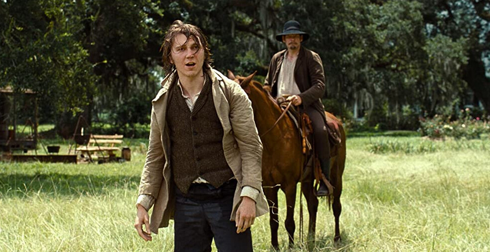 "man on foot man on horseback in ""12 Years a Slave"""