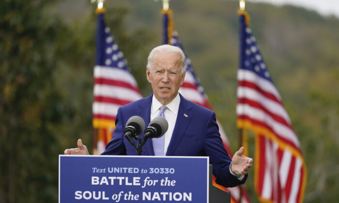 Democratic presidential candidate former Vice President Joe Biden speaks at Mountain Top Inn, in Warm Springs, Ga., on Oct. 27, 2020. (Andrew Harnik/AP Photo)